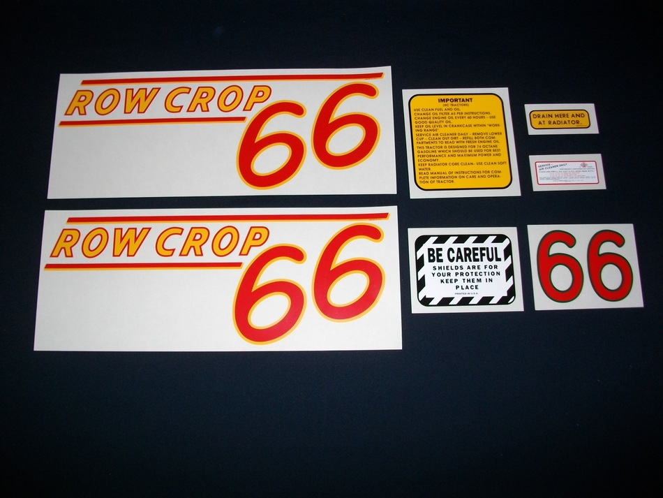 Fits: 66 (Rowcrop RED NUMBERS) Caution: Inspect all decal pieces before applying to the tractor. We cannot offer a refund on mylar decals if they have been applied and/or if they are damaged. Store these tractor decals in a cool, dry place. Do not soak these mylar tractor decals in water. Detailed application instructions are included with each decal set. Please follow the appropriate instructions for your tractor decal set.