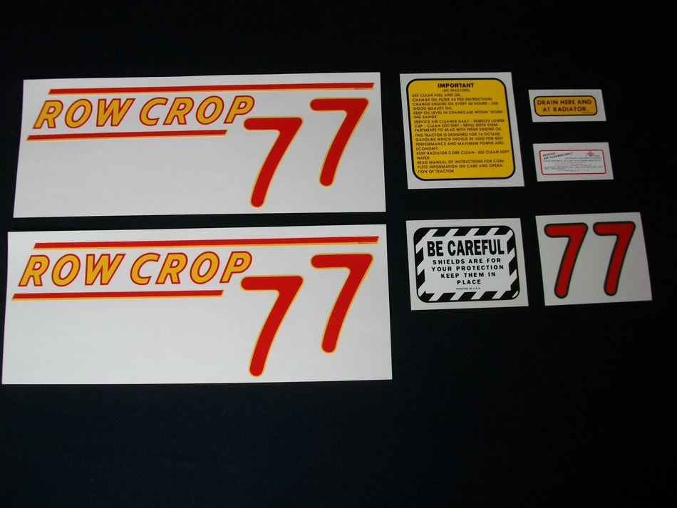 Fits: 77 (Rowcrop RED NUMBERS) Caution: Inspect all decal pieces before applying to the tractor. We cannot offer a refund on mylar decals if they have been applied and/or if they are damaged. Store these tractor decals in a cool, dry place. Do not soak these mylar tractor decals in water. Detailed application instructions are included with each decal set. Please follow the appropriate instructions for your tractor decal set.
