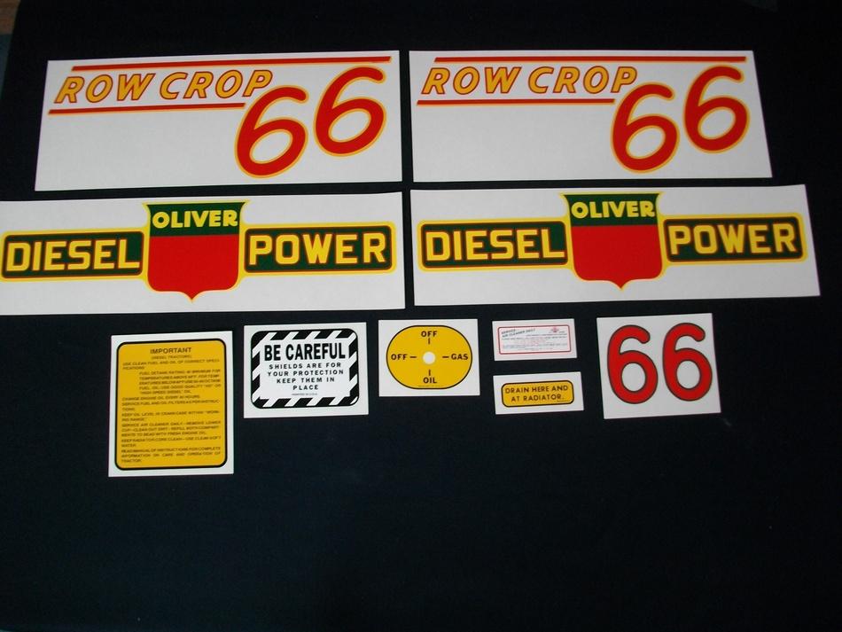 Oliver 66 Row Crop Diesel Red (Mylar Decal Set)