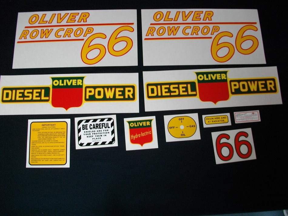 Oliver 66 Row Crop Diesel Yellow (Mylar Decal Set)