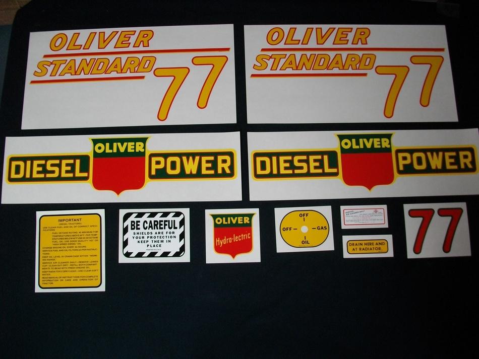 Oliver 77 Standard Diesel Yellow (Mylar Decal Set)