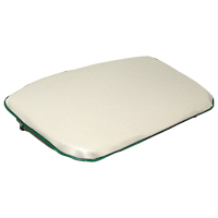 Seat Bottom Cushion - White Vinyl Pad with Green Trim
