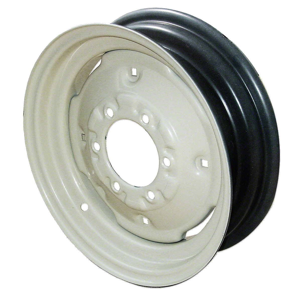 4.5 X 16 6 Lug Front Wheel With 4 Wheel Weight Holes For Oliver: 77,88,550, 770, 880,1550,1555, 1600, 1650,1655 Super 55, Super 77, Super 88. 6 CIRCLE WITH 4.62 PILOT Hole. 2500 LB CAPACITY FOR 5.50 x 6.00X16 TIRES. Replace Oliver PN#: 1ks-729a TO DETERMINE BACKSPACING, LAY THE WHEEL FLAT ON THE GROUND WITH THE BACK OF WHEEL FACING UP. NEXT, LAY A STRAIGHTEDGE ACROSS WHEEL AND MEASURE THE DISTANCE FROM THE BACK SIDE OF MOUNt  Please check and measure your tractor closely because if this rim does not fit, we do not pay return shipping on rims.