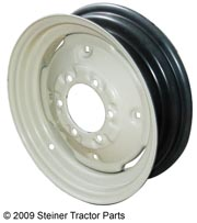 6 lug, 4.5 X 16 with 4 wheel weight holes.  Pilot hole is 4.62. 2500 lb. capacity.  Please check and measure your tractor closely because if this rim does not fit, we do not pay return shipping on rims.