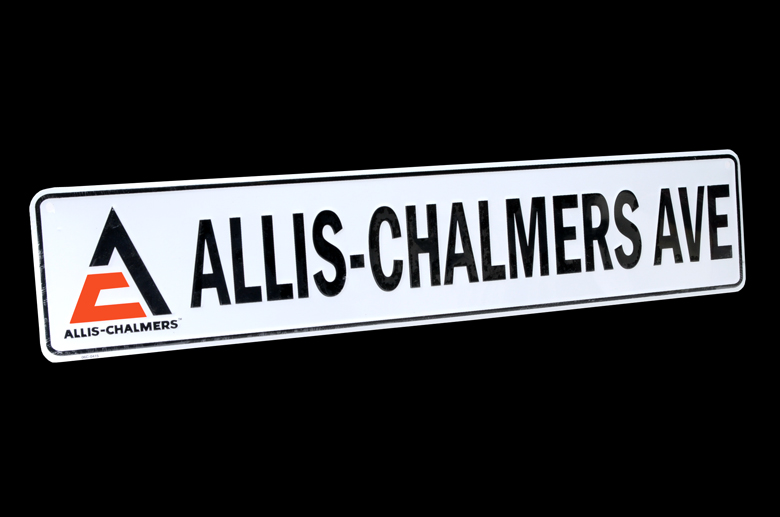 Metal, 2 foot long, street sign. Embossed, raised lettering. Perfect for the Allis-Chalmers enthusiast.