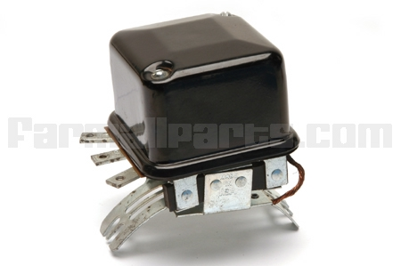 Original type generator mount voltage regulator for tractors with 6 volt positive voltage regulators. Including Oliver Super 44, Super 55, 66, 77, Super 77, 80, 88, Super 88 99, Super 99
