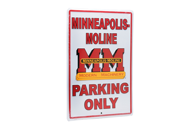 Minneapolis-Moline parking sign. Don\'t park any inferior tractors in this space. MM ONLY!