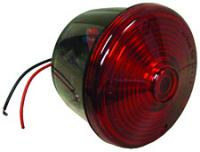 Round red tail light assembly with license lamp window. 4-1/2\ diameter -- 1 7/8\ c-c mounting stud. Minneapolis Moline Tractors: Jet Star 3, Jet Star 3 Super. Oliver 1550, 1555, 1600, 1650, 1655, 1750, 1850, 1855, 1950T, 1955, 2050, 2150, 2255.